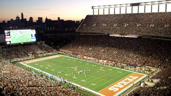 Darrell k royal texas memorial stadium at night